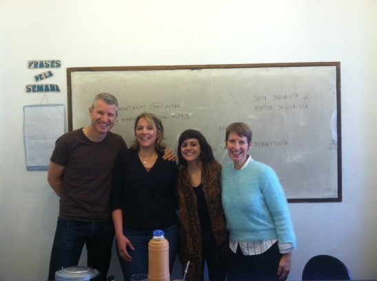 Our Class: (from left to right) Duncan, Me, our teacher Daniela, Helen