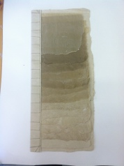Sample book showing the end sheet variation at different lengths of beating flax fiber. The fiber for the bottom sheet was beat for less than one hour. The fiber for the top sheet was beat for 8.5 hours.