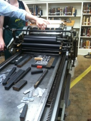 The Vandercook press we used to print our designs.
